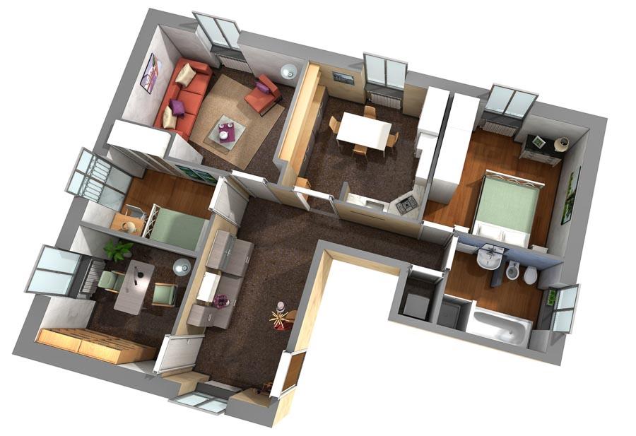 Planimetria 3d di un appartamento