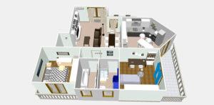 Mappa grafica 3D dell'appartamento, vista dall'alto per antifurto