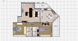 Piantina dell'appartamento arredato, vista dall'alto per la gestione dell'antifurto