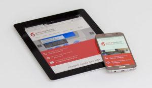 Tablet e smartphone aperti sul sito web antifurtigallarate nella pagina home